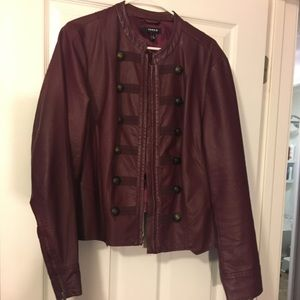 Military style leather jacket